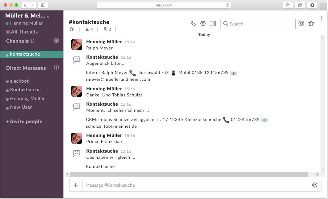 Darstellung eines Chatbots in Slack aus Botsociety.io